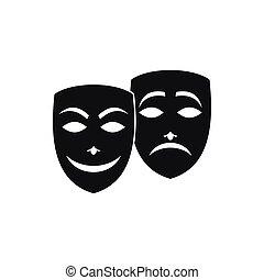 icône, simple, style, masque, carnaval