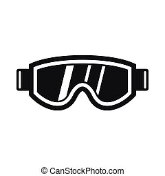 icône, simple, style, masque, ski