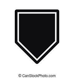 icône, simple, style, noir, fanion