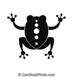 icône, simple, style, noir, grenouille