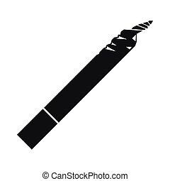 icône, simple, style, noir, spliff