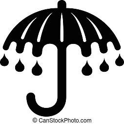 icône, simple, style, parapluie, mouillé