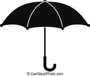 icône, simple, style, parapluie, noir