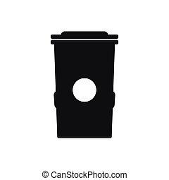 icône, simple, style, poubelle