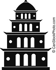 icône, simple, style, vietnam, temple