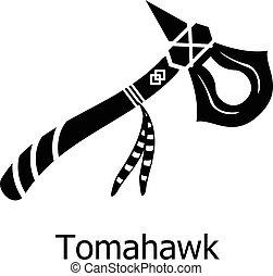 icône, simple, tomahawk, noir, style