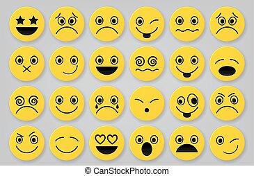 icône, smiley, jaune, ensembles