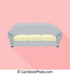 icône, sofa, style, classique, plat