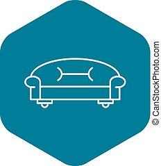 icône, sofa, style, contour, classique