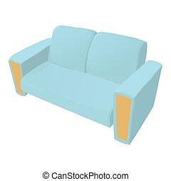 icône, sofa, style, dessin animé
