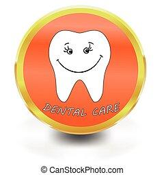 icône, soin, blanc, dentaire, dent