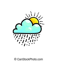 icône, soleil, baisses pluie, nuage, briller