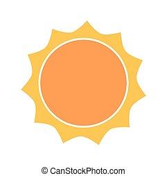 icône, soleil, conception, plat