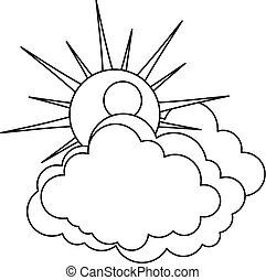 icône, soleil, contour, nuage, style.