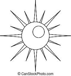 icône, soleil, contour, style.