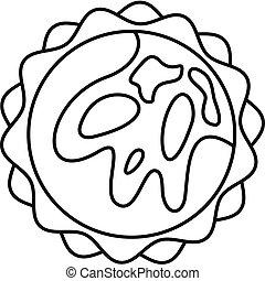 icône, soleil, style, contour, espace
