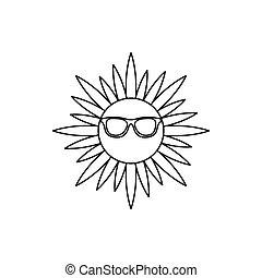 icône, soleil, style, contour, lunettes