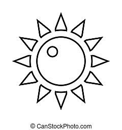 icône, soleil, style, contour