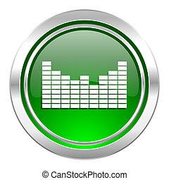 icône, son, vert, bouton