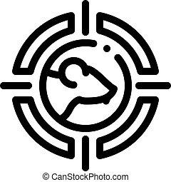 icône souris, contour, illustration, vecteur, cible