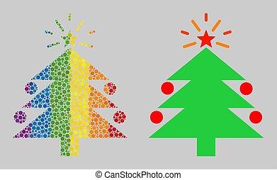 icône, sphères, mosaïque, noël, sapin, spectre, arbre