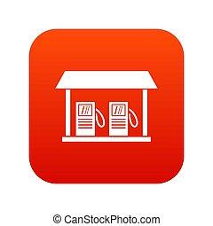 icône, station, essence, rouges, numérique