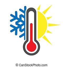 icône, stockage, flocon de neige, thermomètre, vecteur, froid, ou, sun., simple, weather., illustration., chaud
