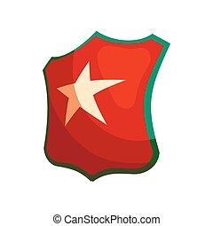 icône, style, étoile, bouclier, dessin animé