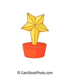 icône, style, étoile, dessin animé, récompense