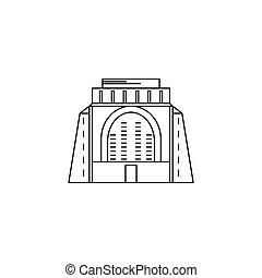 icône, style, africaine, contour, monument