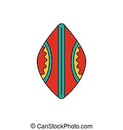 icône, style, africaine, dessin animé, bouclier