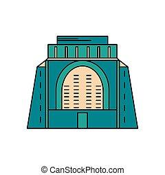 icône, style, africaine, dessin animé, monument