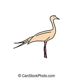 icône, style, africaine, dessin animé, oiseau