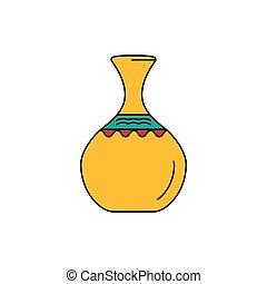 icône, style, africaine, dessin animé, vase