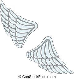 icône, style, ailes, dessin animé