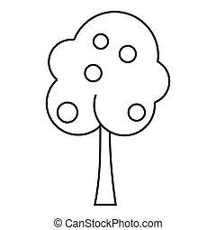 icône, style, arbre fruitier, contour