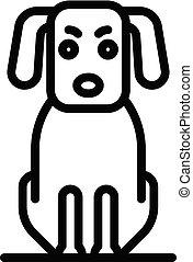 icône, style, chien, malade, contour