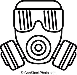 icône, style, contour, masque gaz