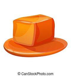 icône, style, cube, dessin animé, caramel