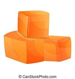 icône, style, cubes, papaye, dessin animé