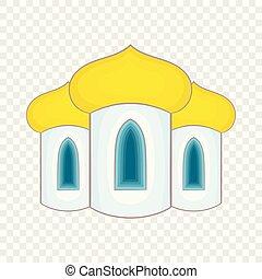 icône, style, dômes, dessin animé, église