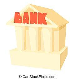 icône, style, dessin animé, banque