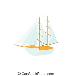 icône, style, dessin animé, bateau