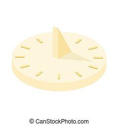 icône, style, dessin animé, cadran solaire
