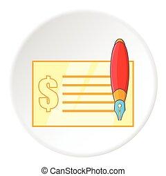 icône, style, dessin animé, chéquier