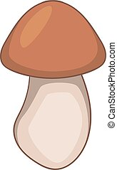icône, style, dessin animé, champignon, boletus