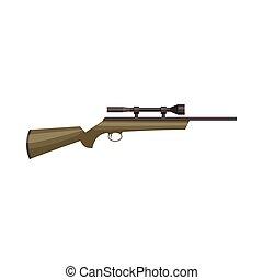 icône, style, dessin animé, chasse, fusil