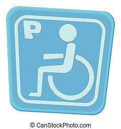 icône, style, dessin animé, invalide, stationnement