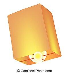 icône, style, dessin animé, lanterne