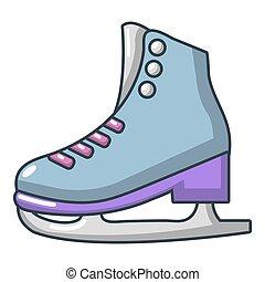 icône, style, dessin animé, patins